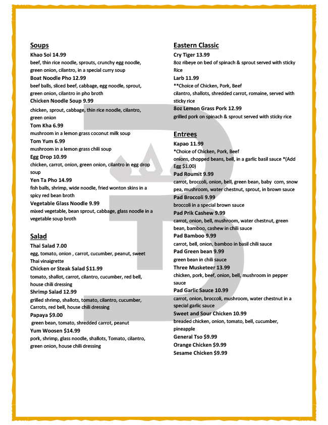 Soups and Eastern Classic Menu